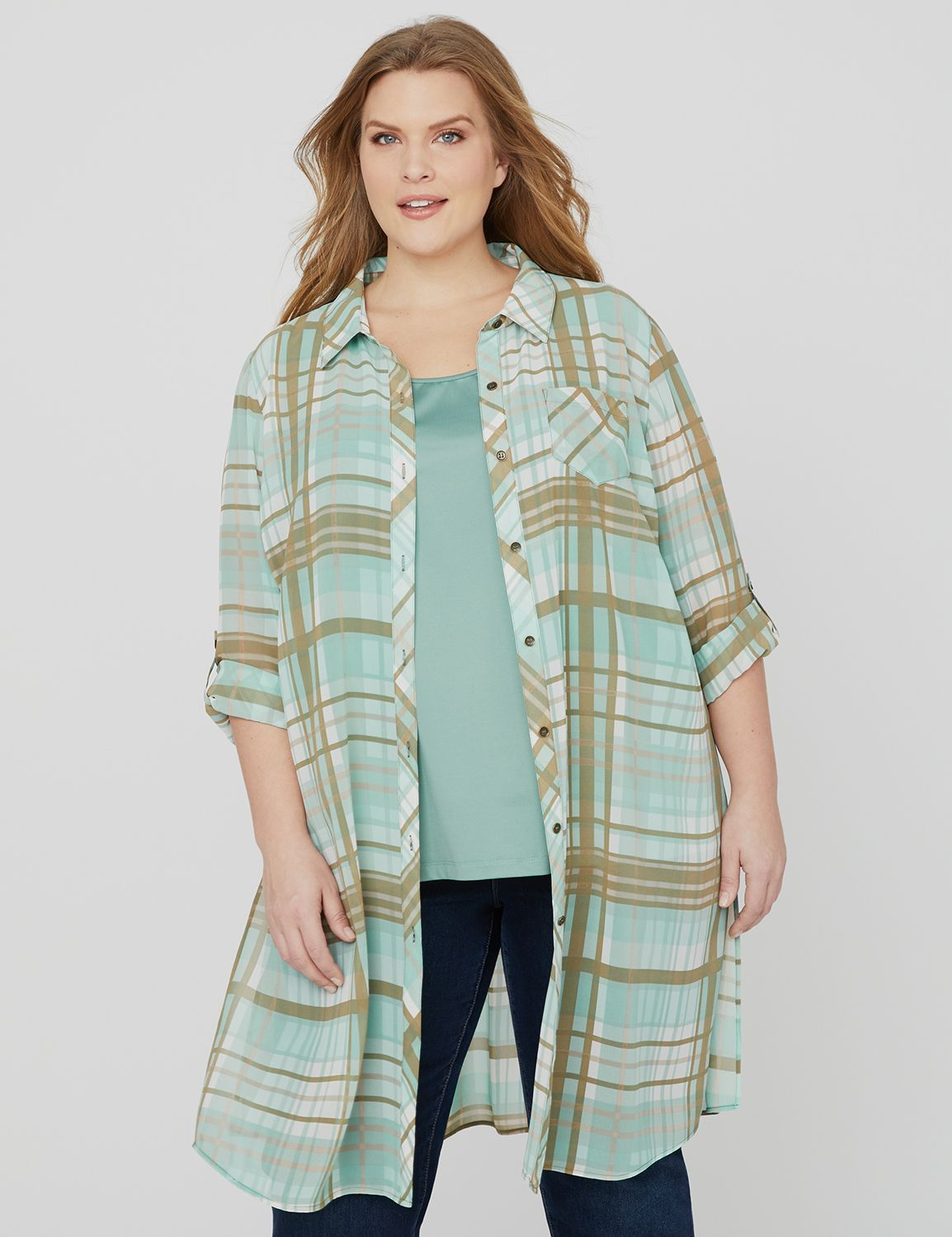 Riverwalk Plaid Duster 1081590-1091388 Long Roll 3Q Slv Bu MP-300103563