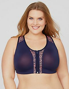Zip-Front Lace Active Bra