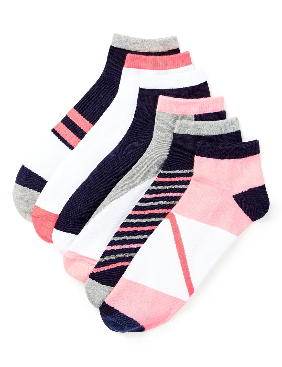 Pink and Grey 6-Pack Socks Act 6pk lw cuts pnk/gry SOX-65684 MP-300094395