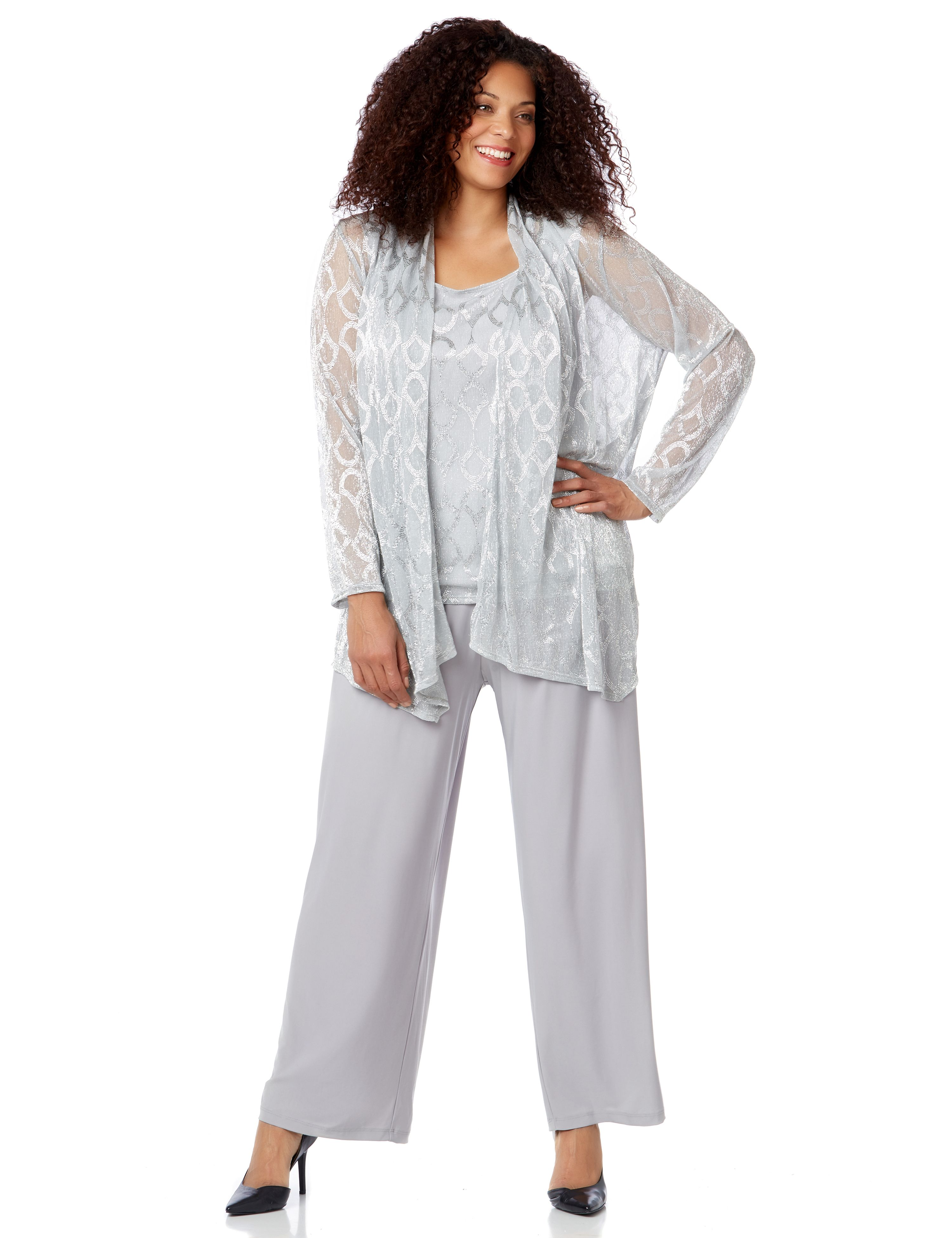 Lightstream Pantsuit 1090987 3 PC Metallic Knit Open Cas MP-300096164