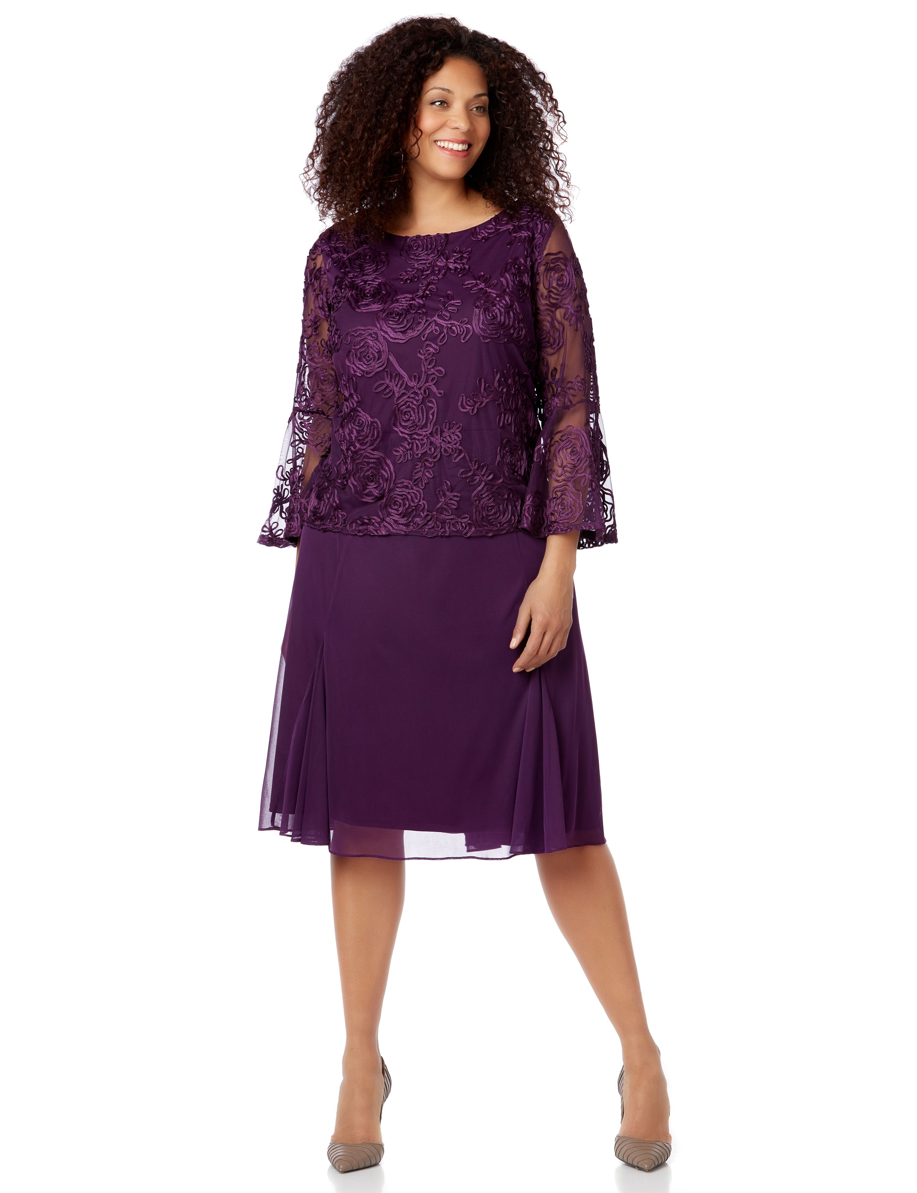 Plum Promenade Dress 1090986 Dress with Overlay and Bell MP-300096158