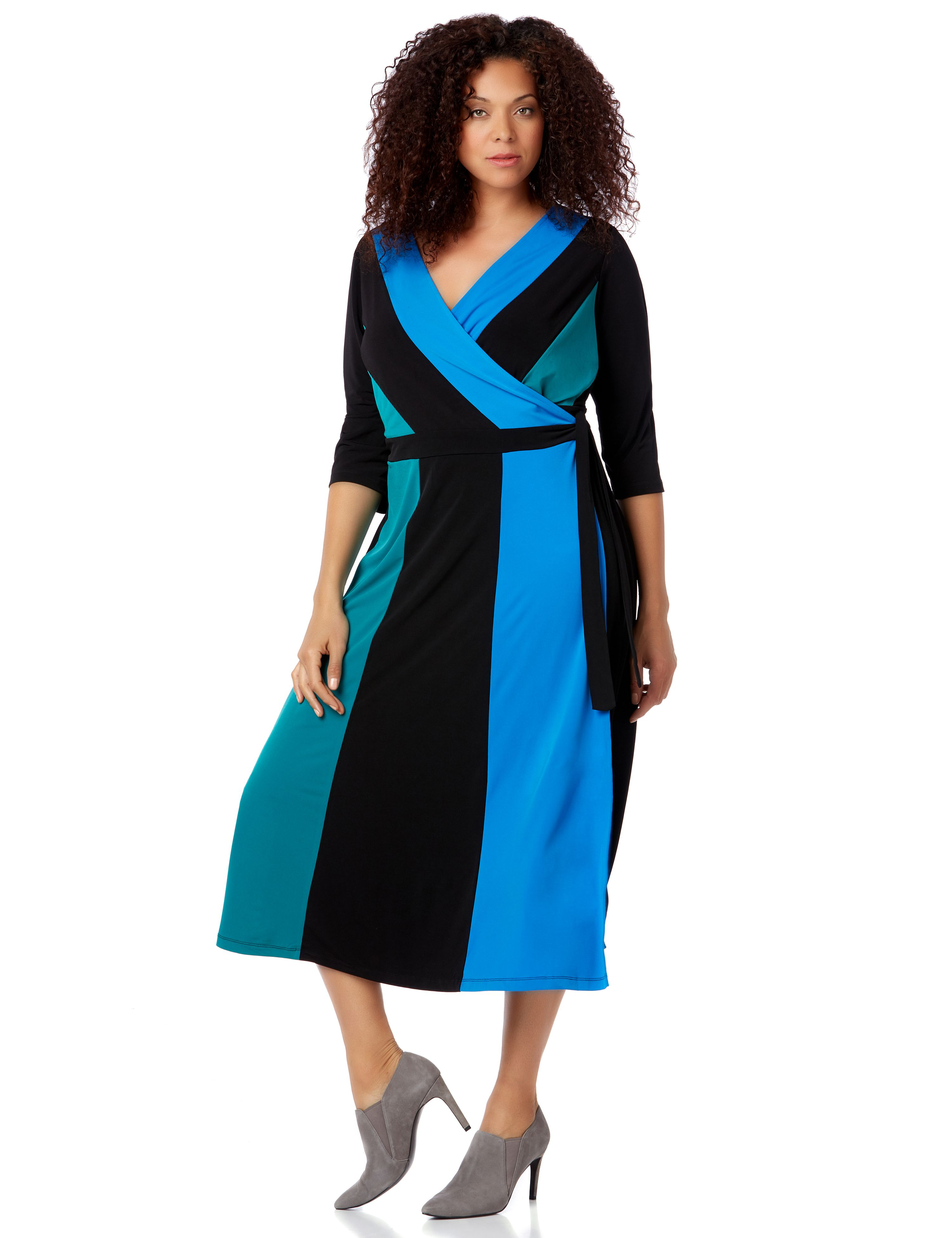 Aegean Dream Dress 1087157 ElbSlv Colorblock Faux Wrap MP-300096210