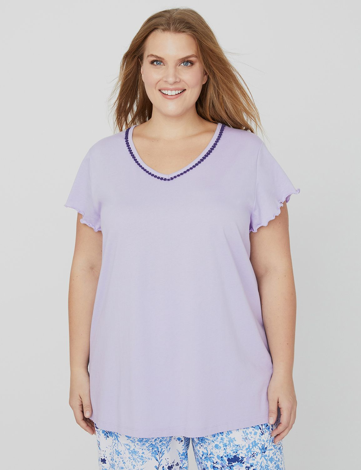 All The Details Sleep Tee 1088483- Ruffle Sleeve Tee w/ pom p MP-300096230