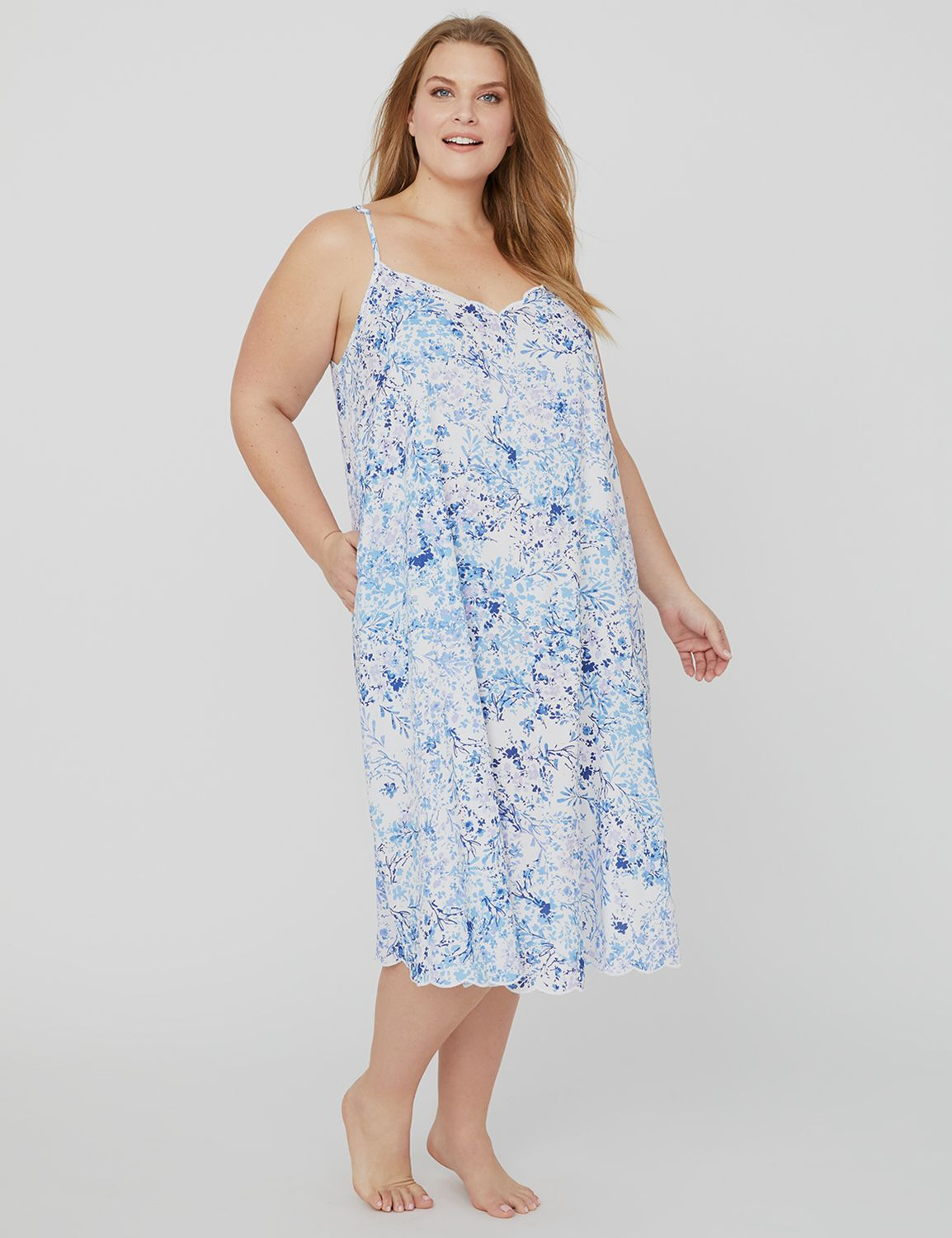 Scalloped-Edge Sleep Gown 1088493- Printed Challis Woven Midi MP-300096260