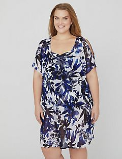 Lakeside Floral Sheer Cover-Up