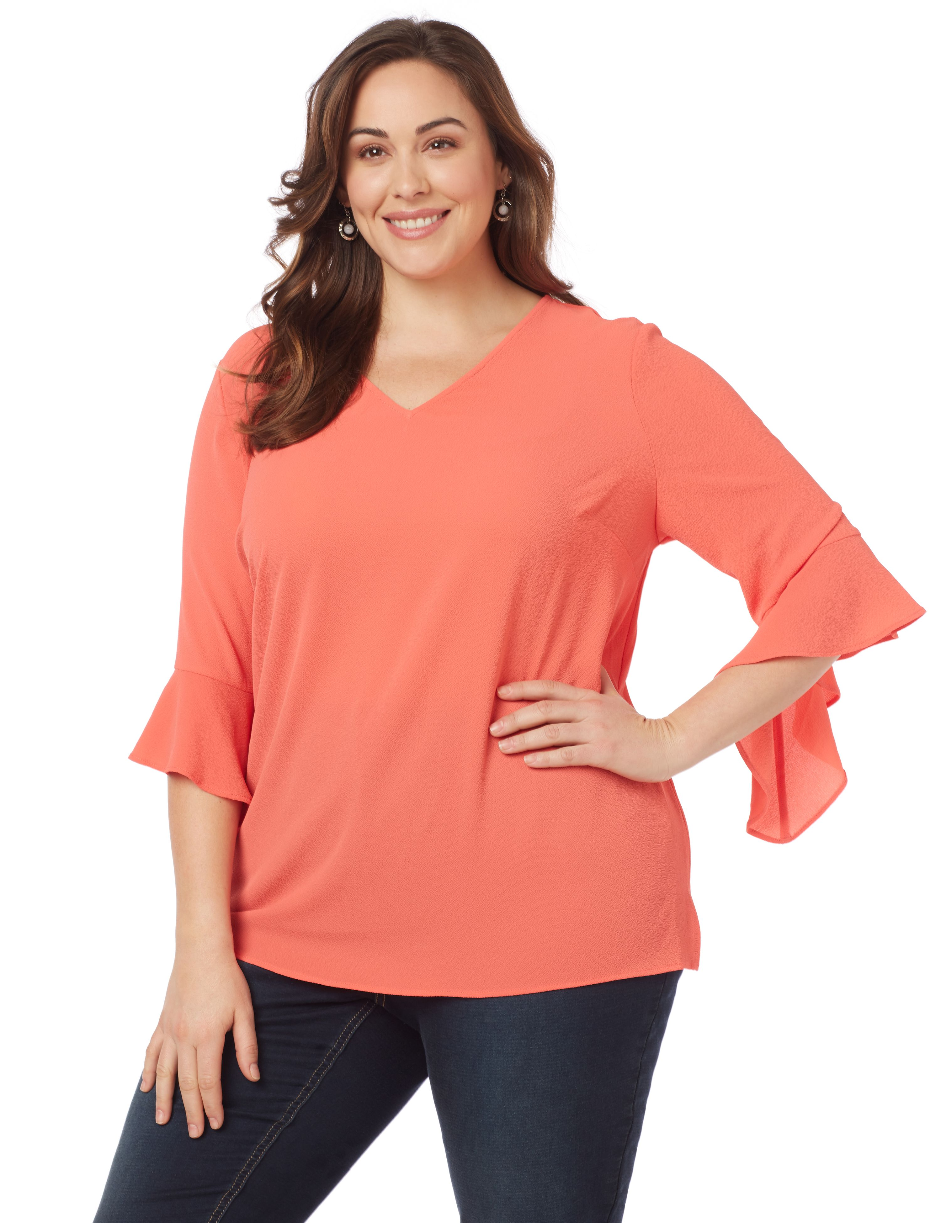 Double Flare Top 1087939 Pebble Crepe V-nk Blouse Wi MP-300095736