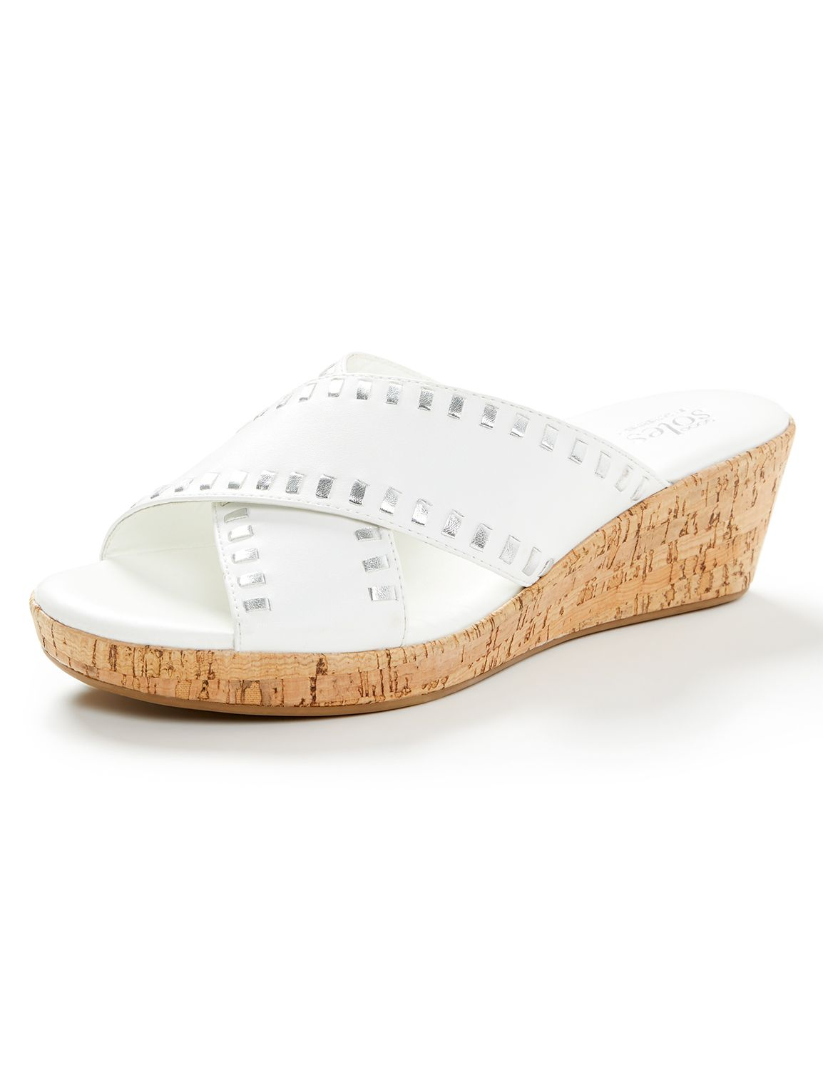 Good Soles Cork Wedge Sandal Cork X Wedge w/ Metallic stitch W24 MP-300097386