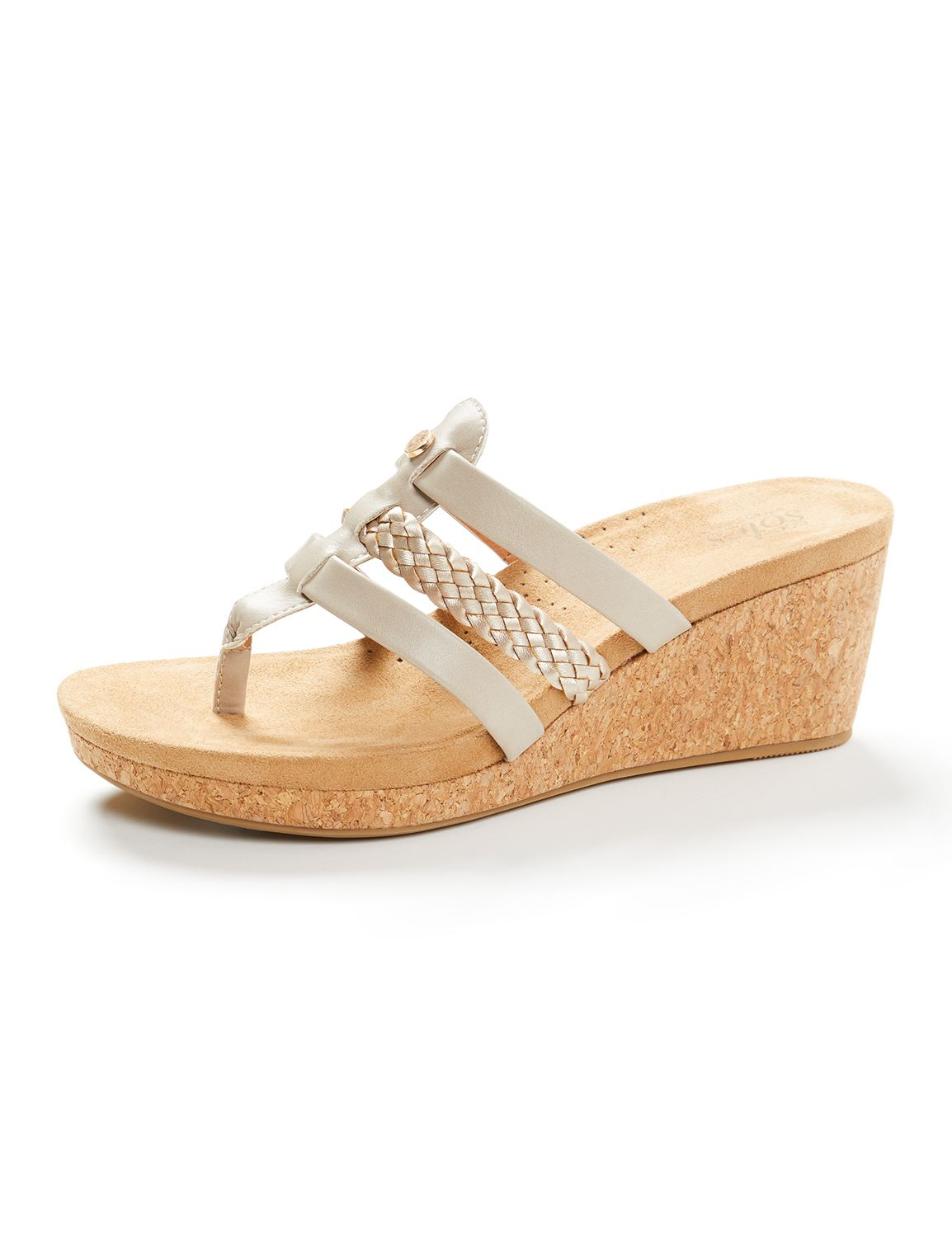 Good Soles Boardwalk Wedge Sandal Cork Wedge w/ Three Straps Wedge WL MP-300097413