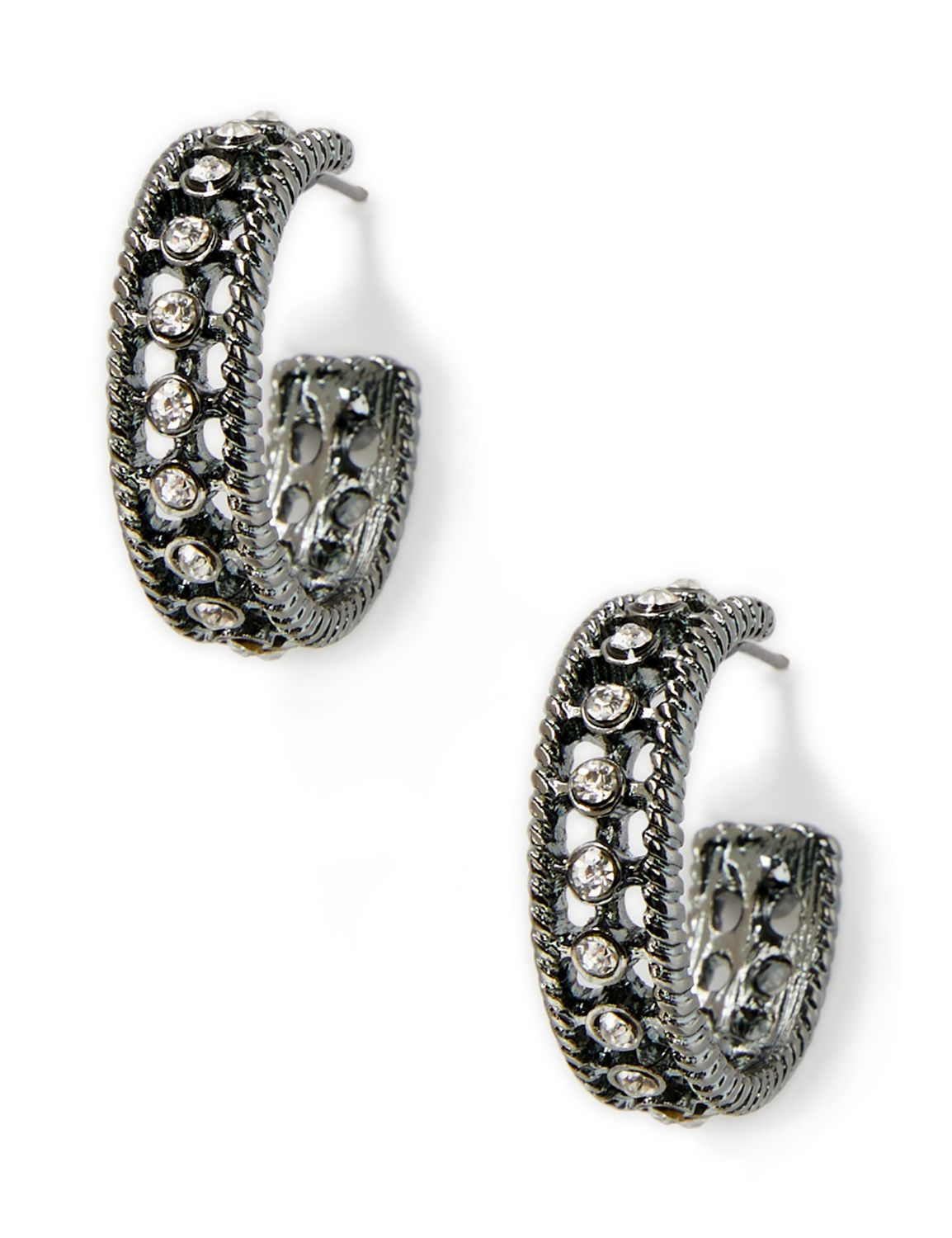 Rhinestone Hoop Earrings NHF Open circle hoop w rhnstns PE 2 MP-300097666