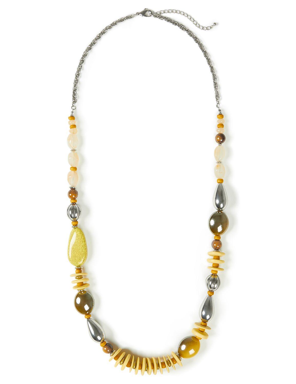 Pebble Beach Necklace WU Long Chunky bead/wood NK 8/1A MP-300097202
