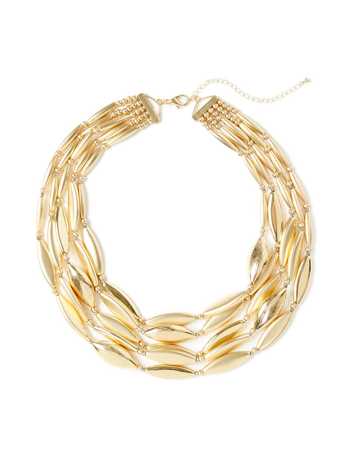 Almond Cluster Necklace NBF Mid 5row smooth/text almond NK MP-300097198