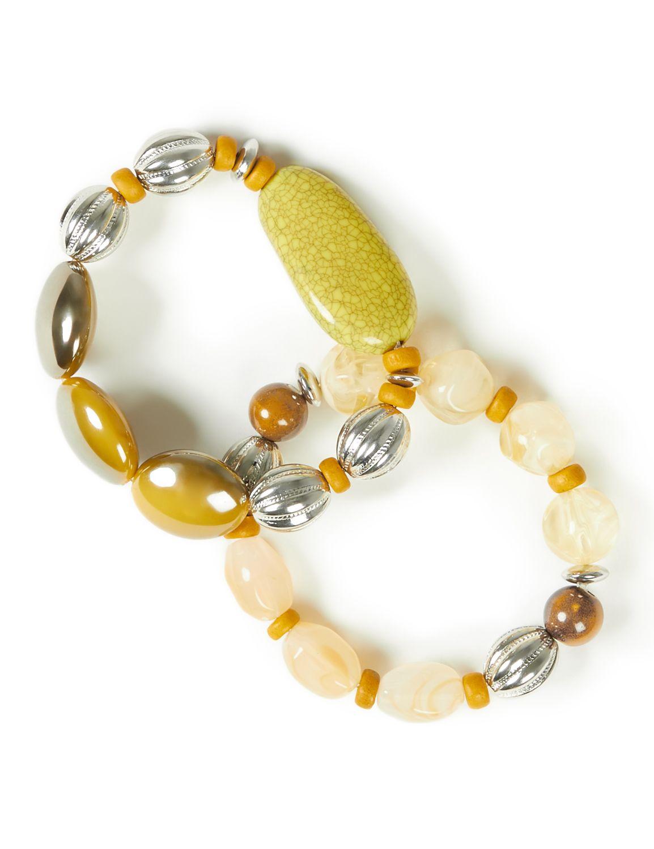 Pebble Beach Bracelets WU 2row wood/bead BR 8/18D MP-300097204
