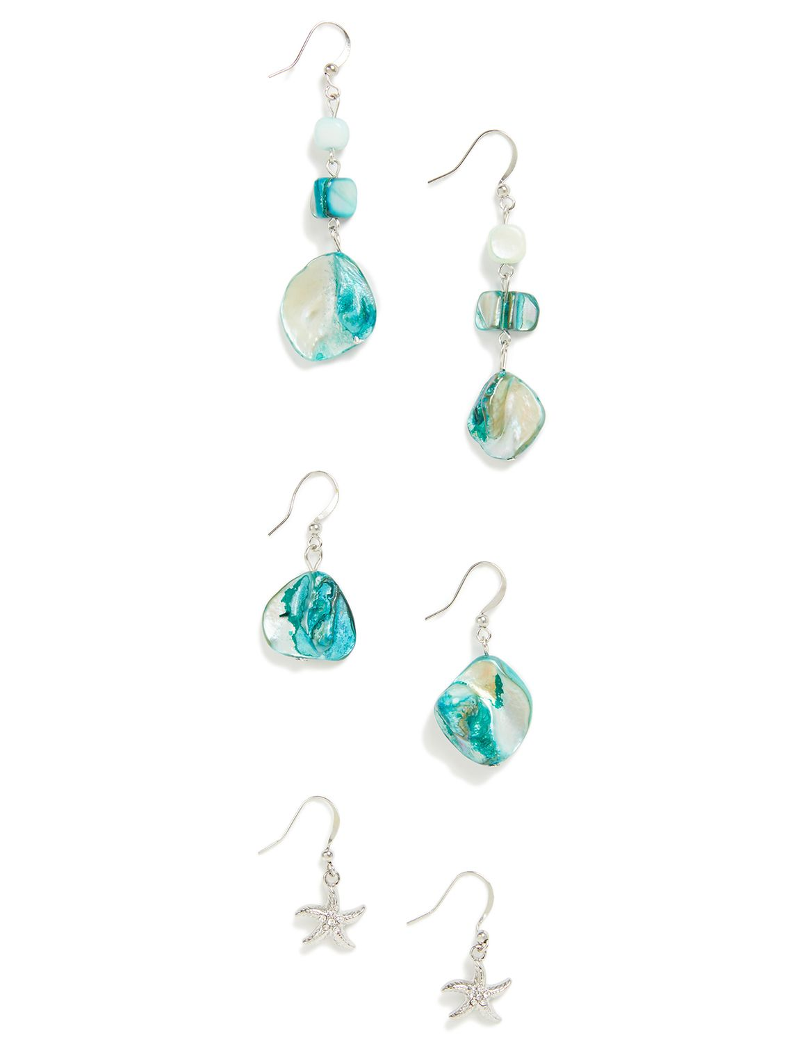 Aqua Sand Dune Earrings CB Trio shell PE 410788EP MP-300097675