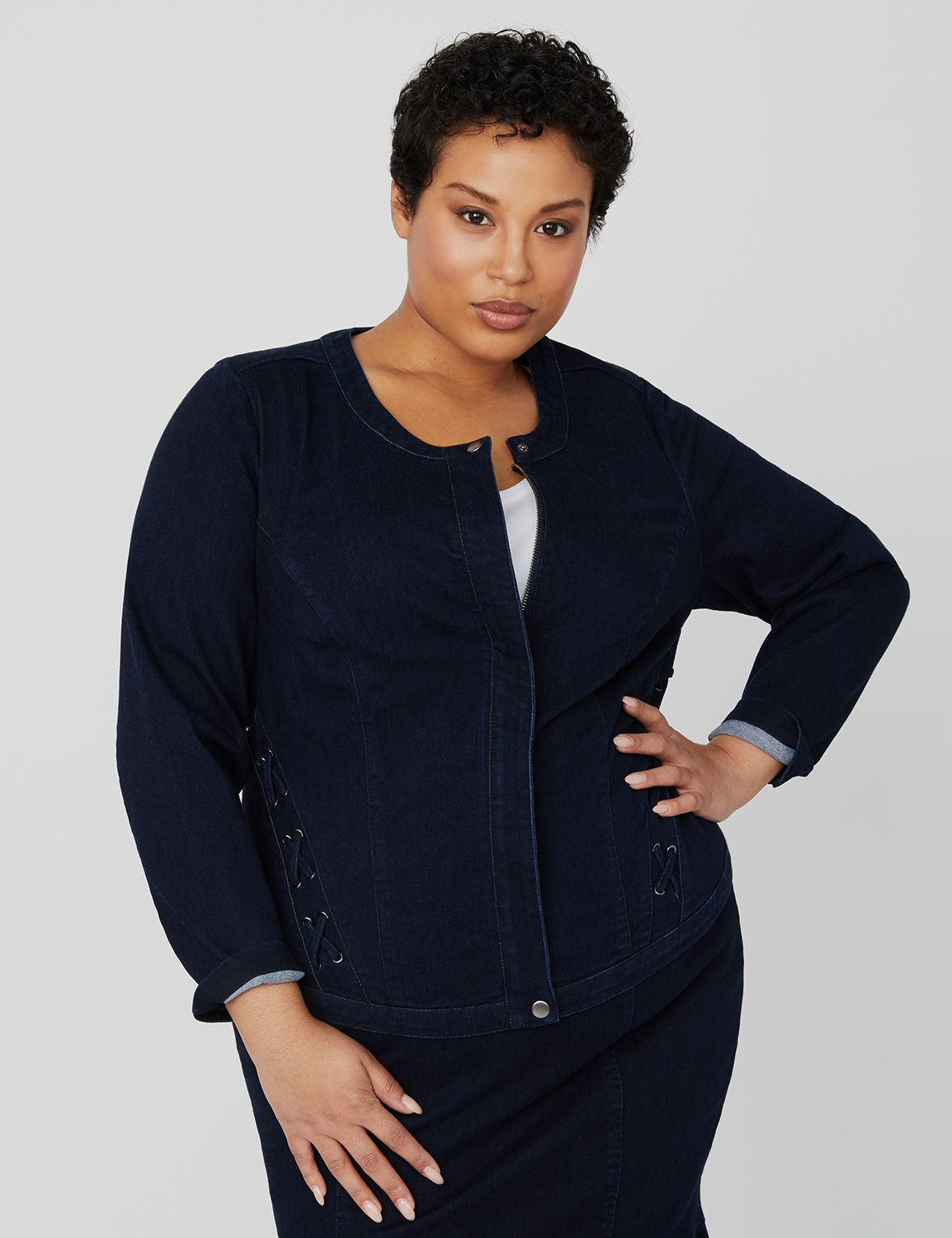 Curvy Collection Denim Jacket 1090199 Curvy Collection Sateen (11 MP-300098594