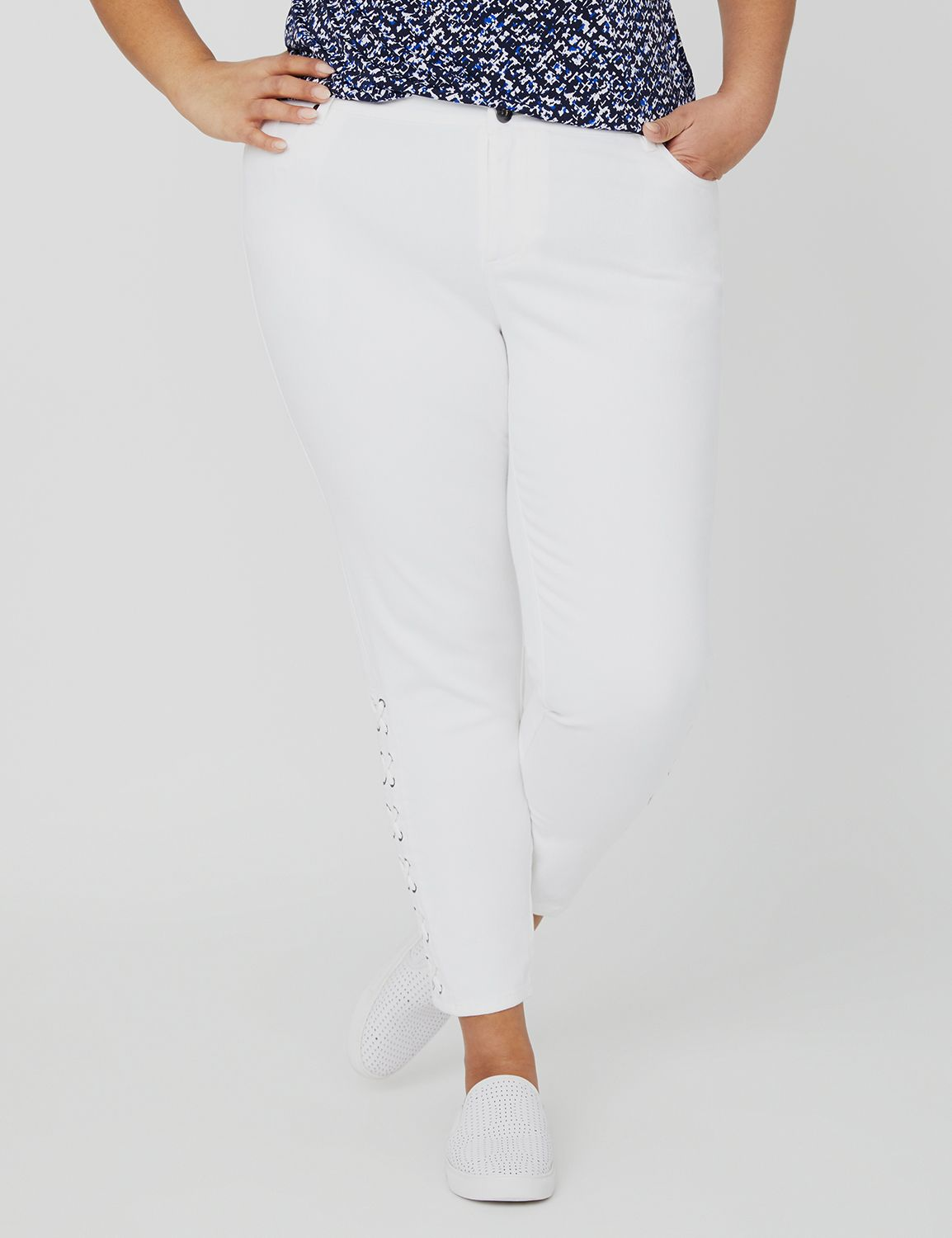 Curvy Collection Lace-Up White Jean 1091485 Curvy Collection Sateen Whi MP-300098712
