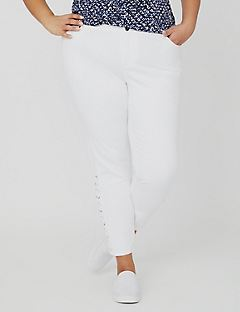 Curvy Collection Lace-Up White Jean