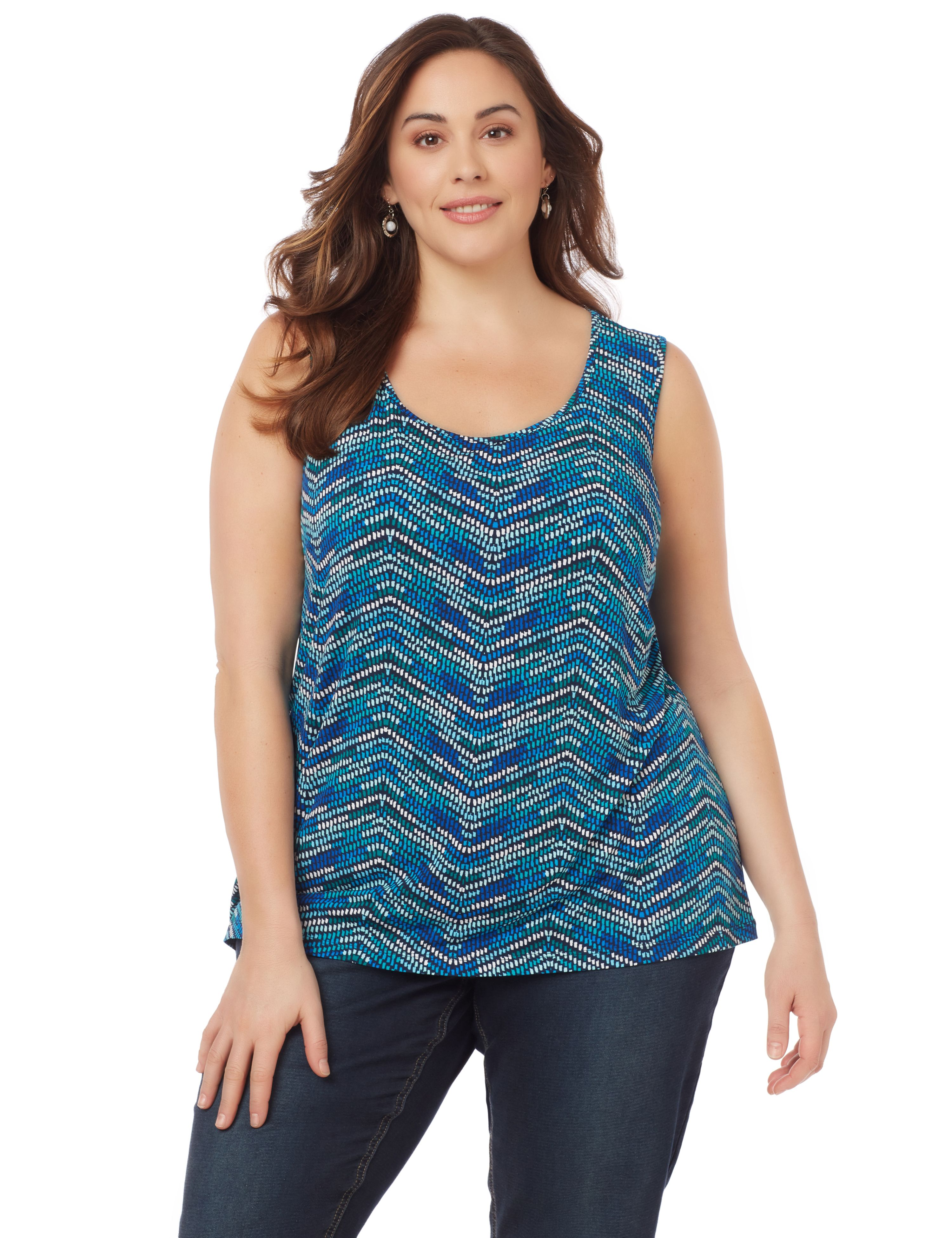 Mixed Print Tank PP Printed Scoop Neck Tank MP-300097909