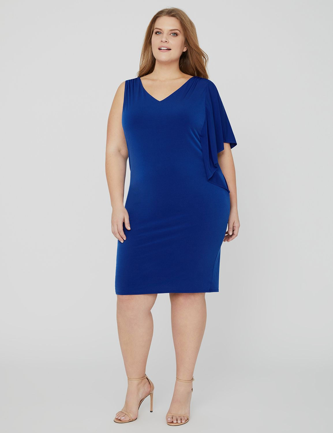 Curvy Collection One-Sleeve Dress 1090273 Curvy Collection ITY Dress MP-300098773