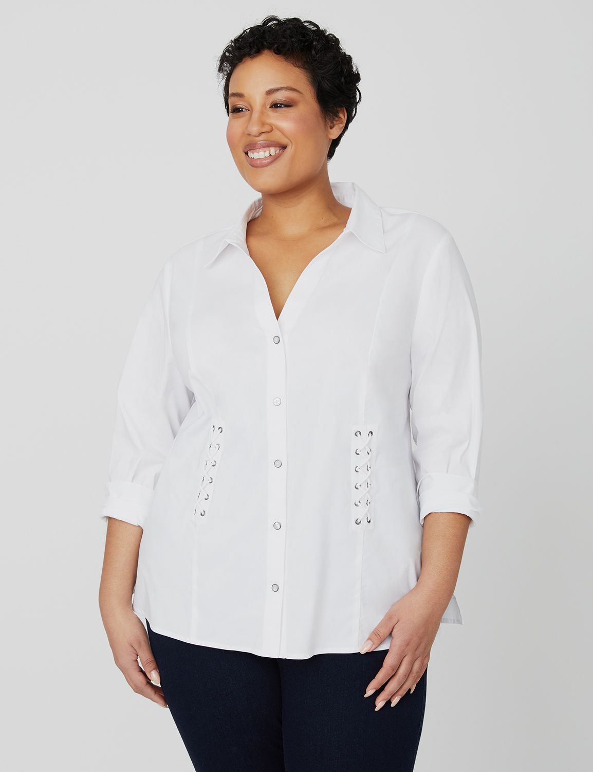 Curvy Collection Lace-Up Shirt 1091263 Curvy Collection Button Fro MP-300098780