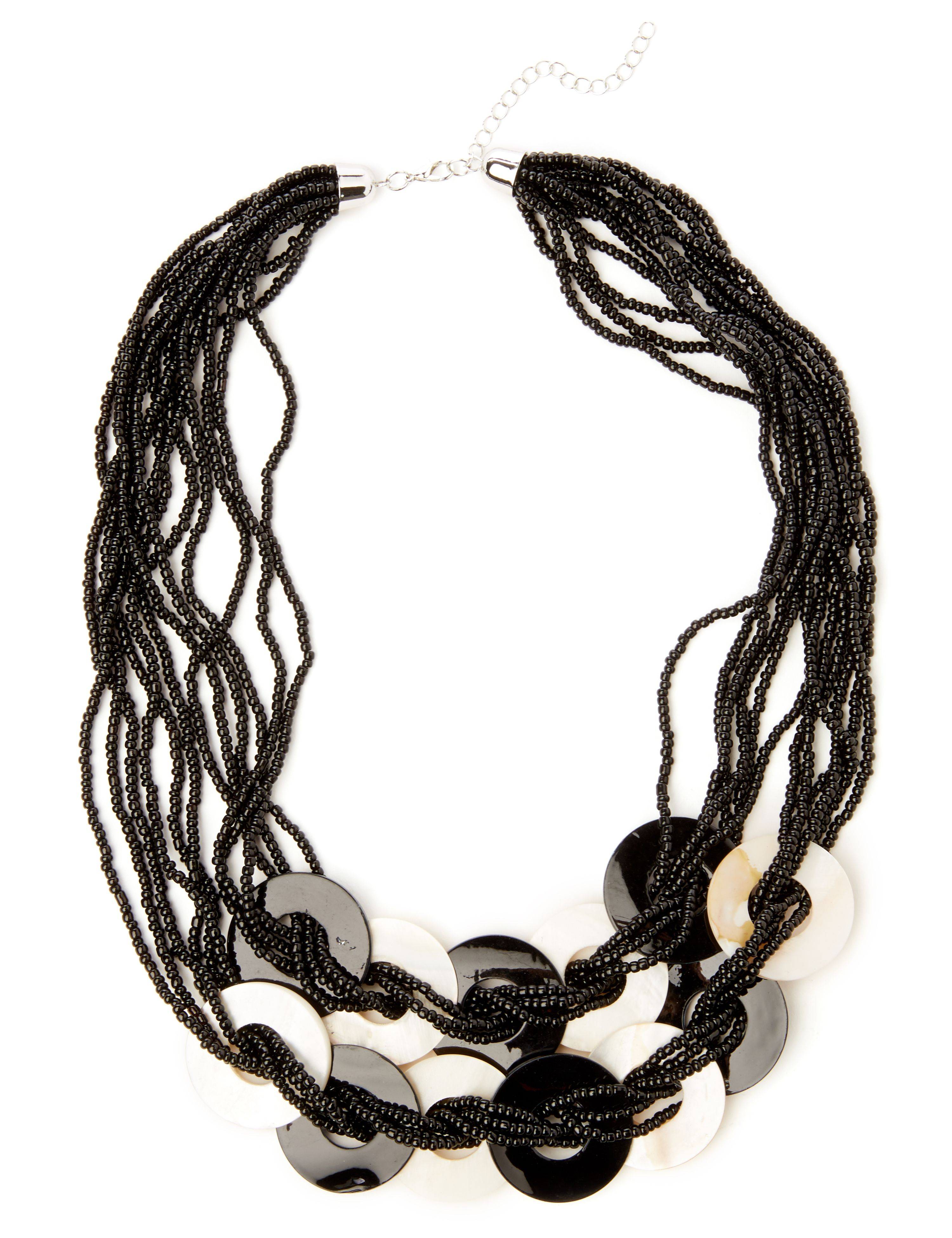 Striking Statement Necklace NH Short seed bead & rings NK KT072 MP-300099192