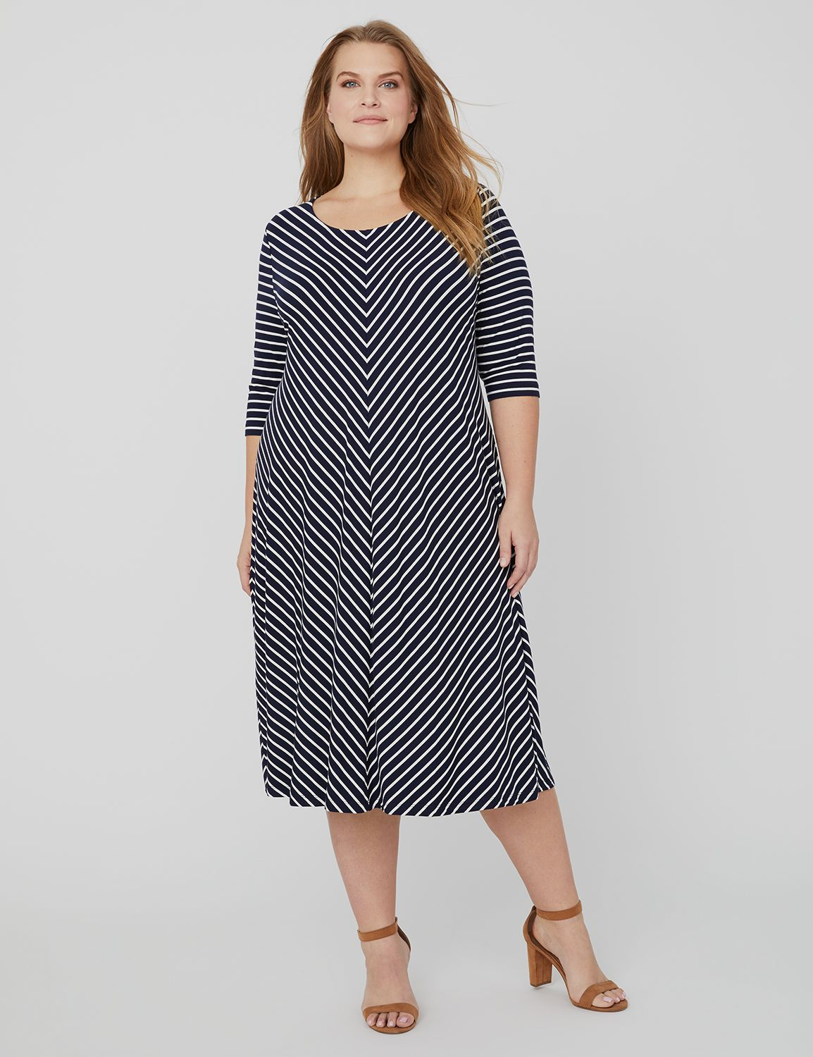 Stripe Swing Dress 1083863-1092759 S RAYON SPAN MITERE MP-300097180