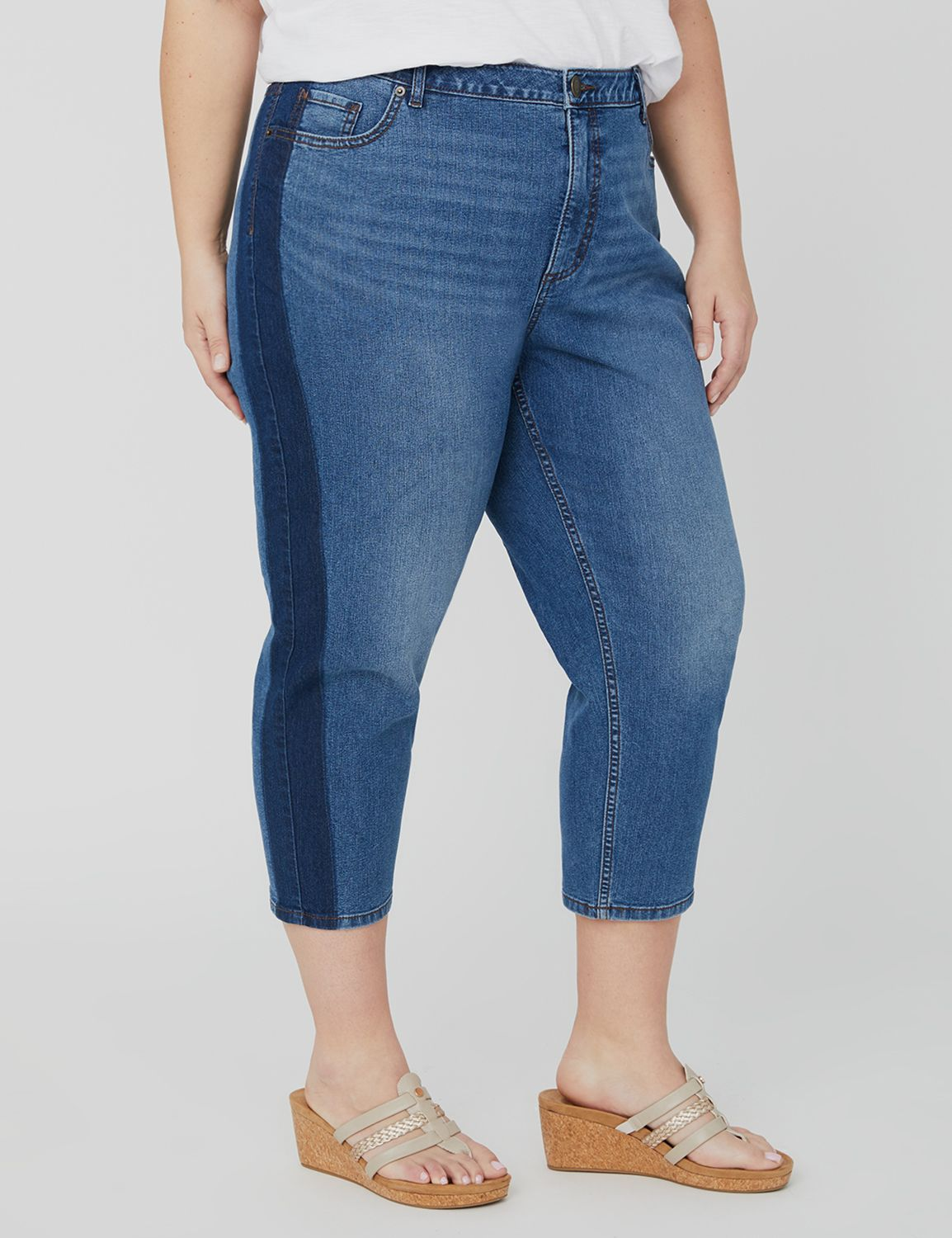 Jean Capri with Dark-Wash Stripe 1088046 2-TONE DENIM WASH ON SIDE S MP-300099566