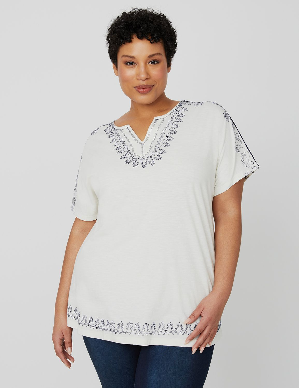 Embroidered Melody Top 1089840 EMBROIDERED SPLIT NECK MP-300099852