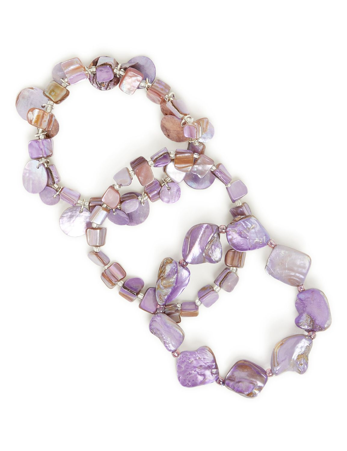 Lilac Seashell Bracelets LM 3row shell purp BR KT0721B161 MP-300099956