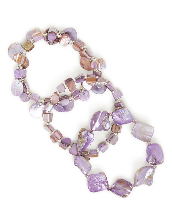 Lilac Seashell Bracelets LM 3row shell purp BR KT0721B161 MP-300099956