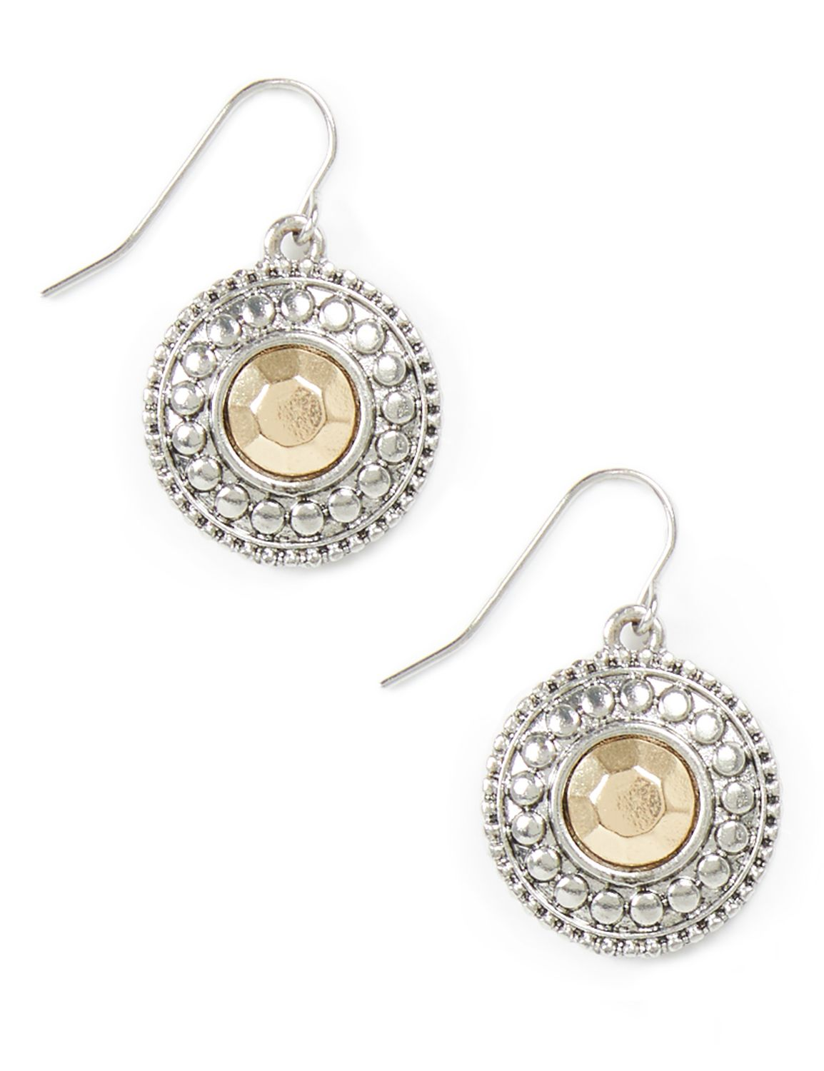 Silver Serenade Earrings CB 2tone filagree drop disc PE KT07 MP-300099919