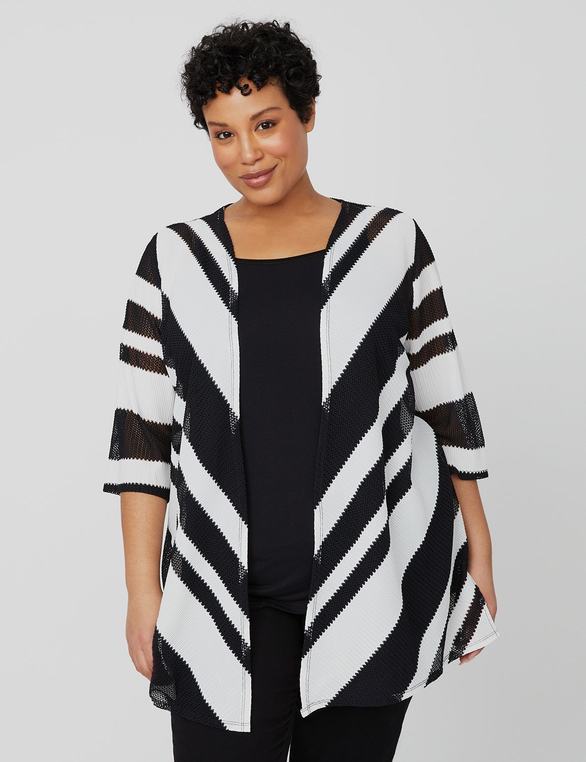 Cascading Herringbone Cardigan 1089908 BLK/WHT HERRINGBONE COLORBL MP-300099907