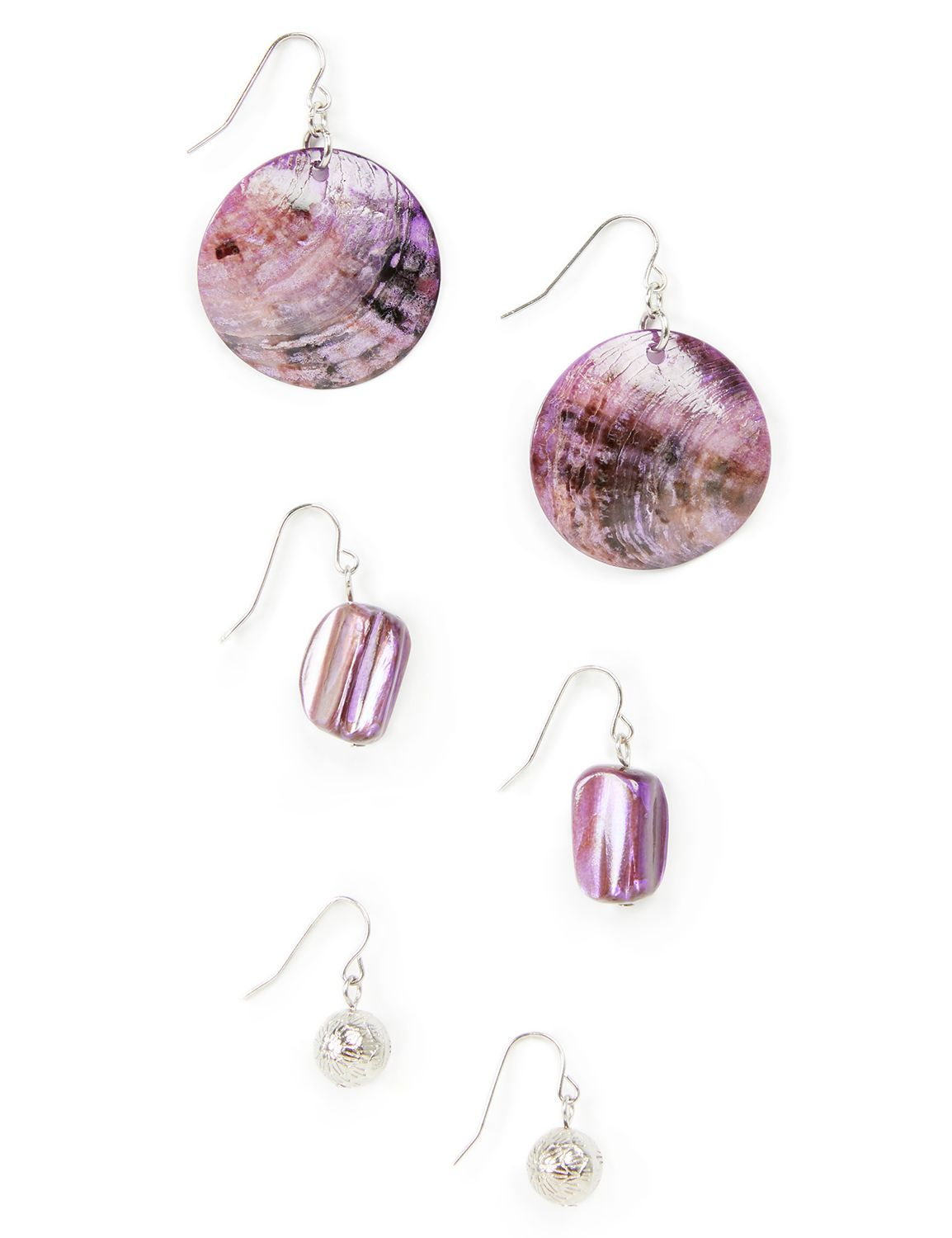 Lilac Seashell Earrings LM Shell trio PE KTE0500 MP-300099924
