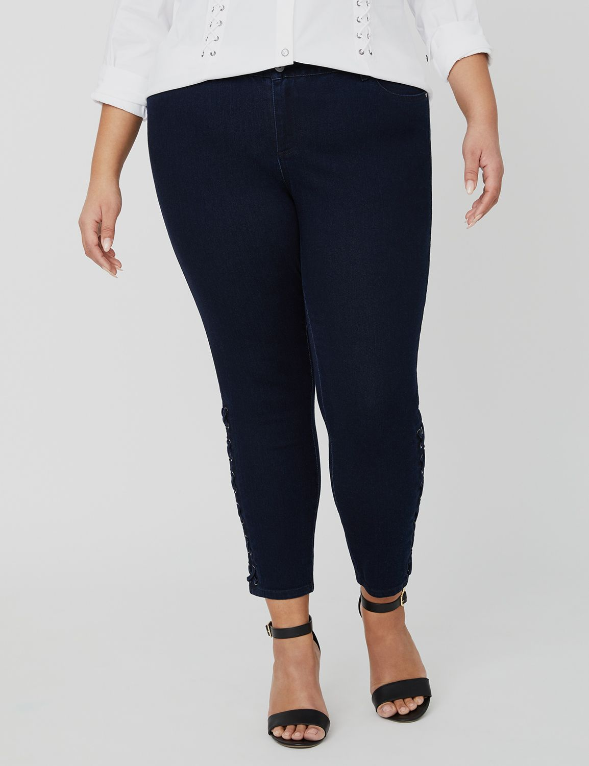 Curvy Collection Lace-Up Jeans