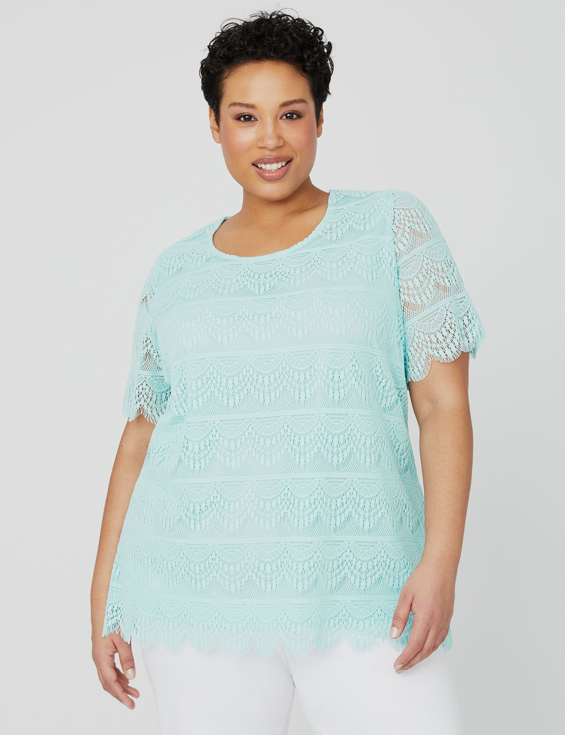 Waves of Lace Top 1087830 SCALLOP EDGE ALLOVER LACE MP-300100098