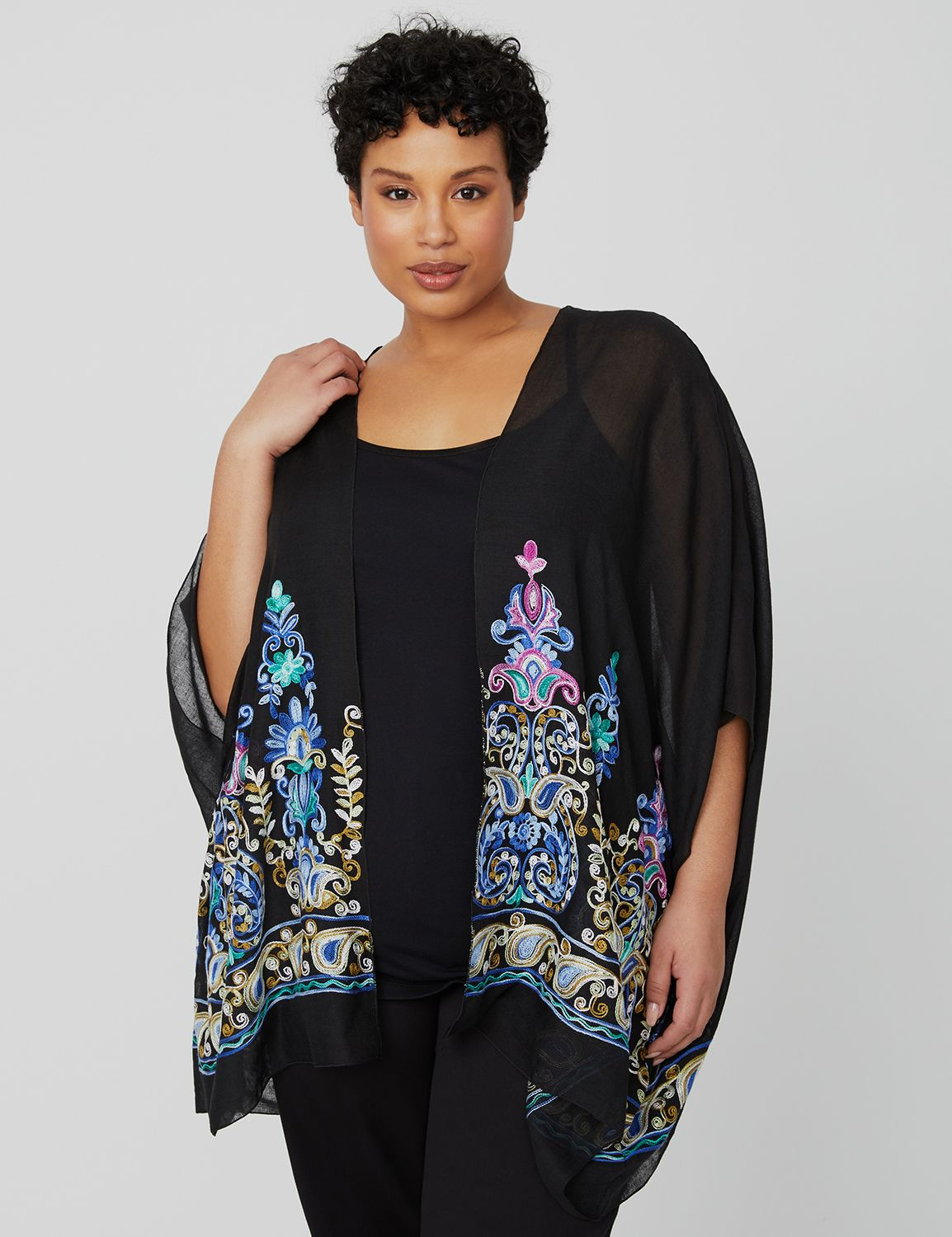 Embroidered Kimono NHF Embroidered Topper MP-300100015