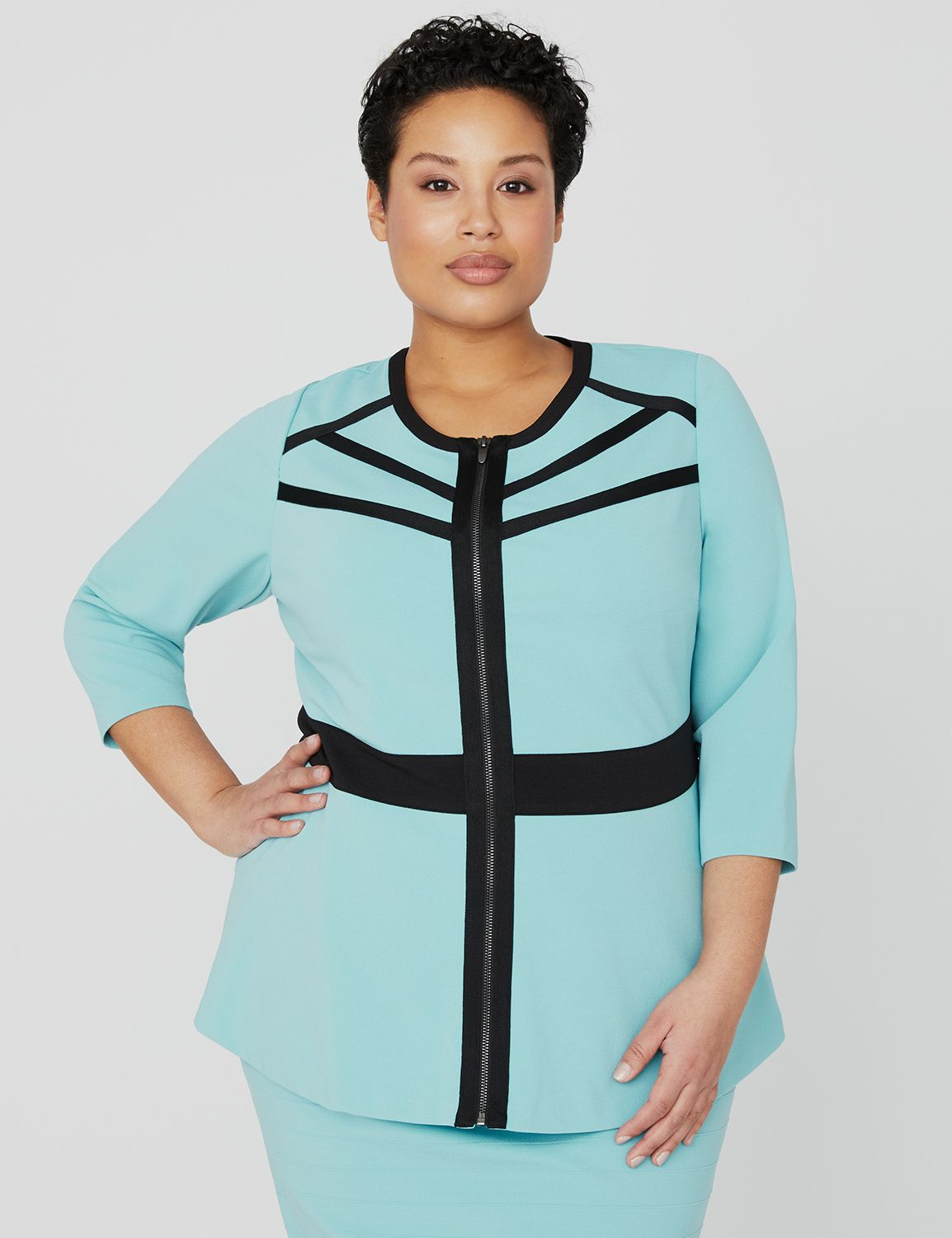 Curvy Collection Cosmo Jacket 1083513 Curvy Collection Zip Front MP-300099444