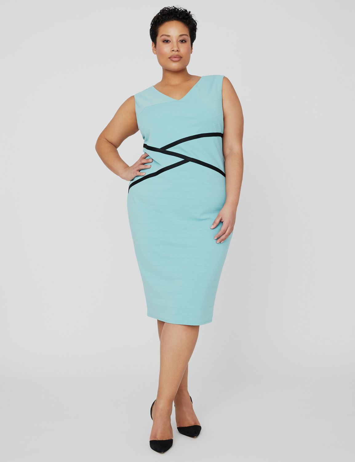 Curvy Collection Bandage Cosmo Dress 1090272 Curvy Collection Stripe Jac MP-300099595
