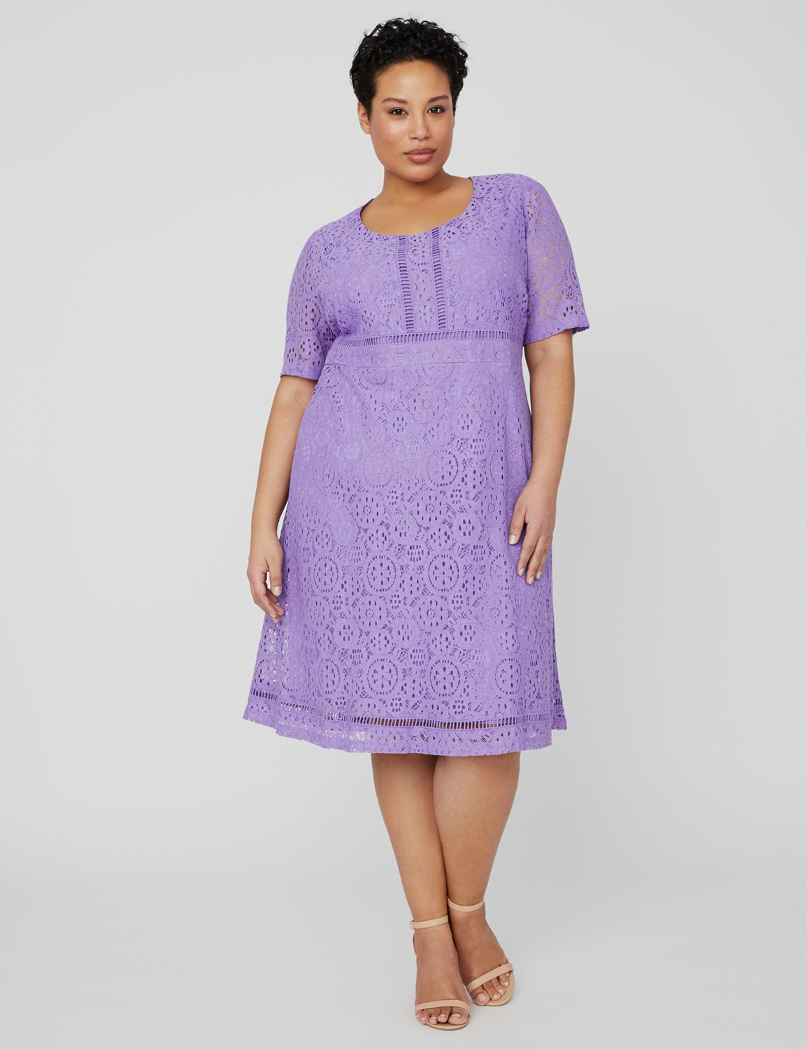 Violet Lace Dress 1091036 A Line Lace Dress with Trim MP-300100571