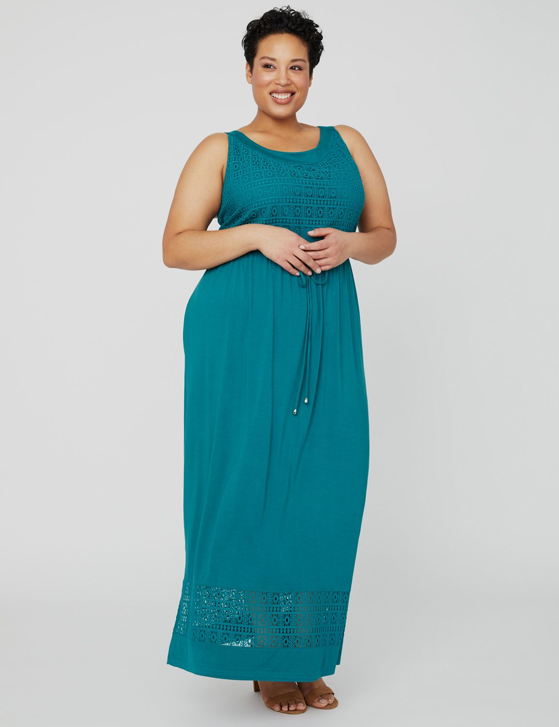 Seaside Maxi Dress 1091385 Lace and R/S Jersey Drawstr MP-300100667