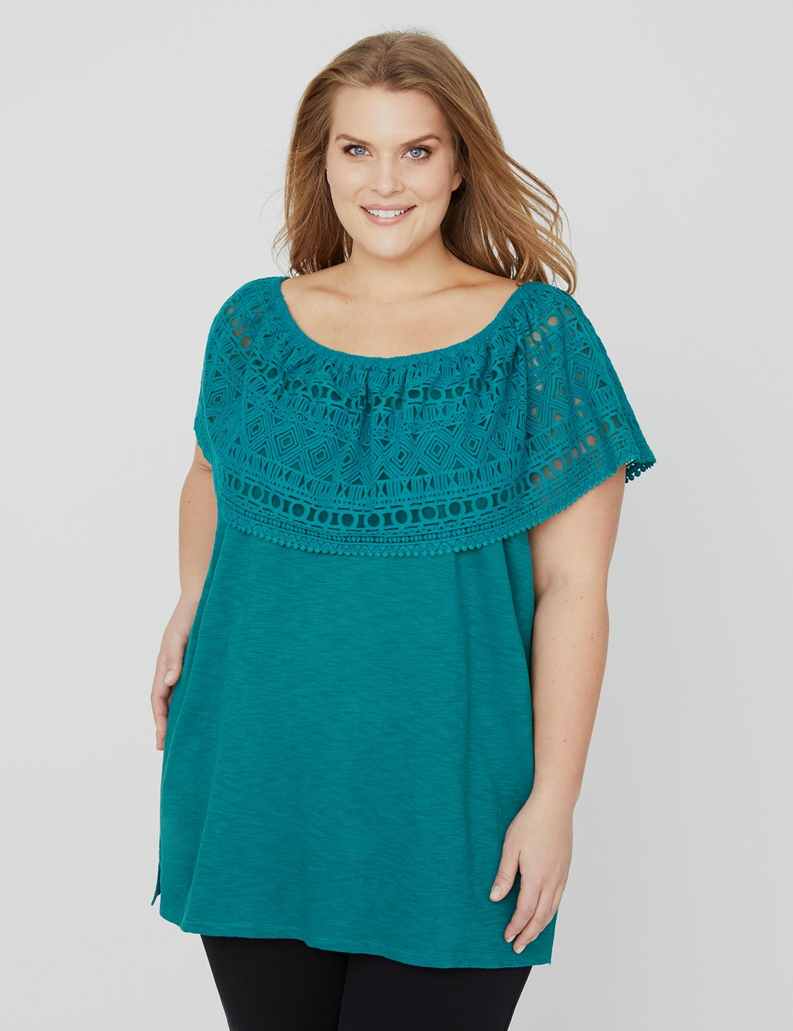Shaded Cove Off-the-Shoulder Top 1088202 BURNOUT FLOUNCE OFF SHOULDE MP-300101844