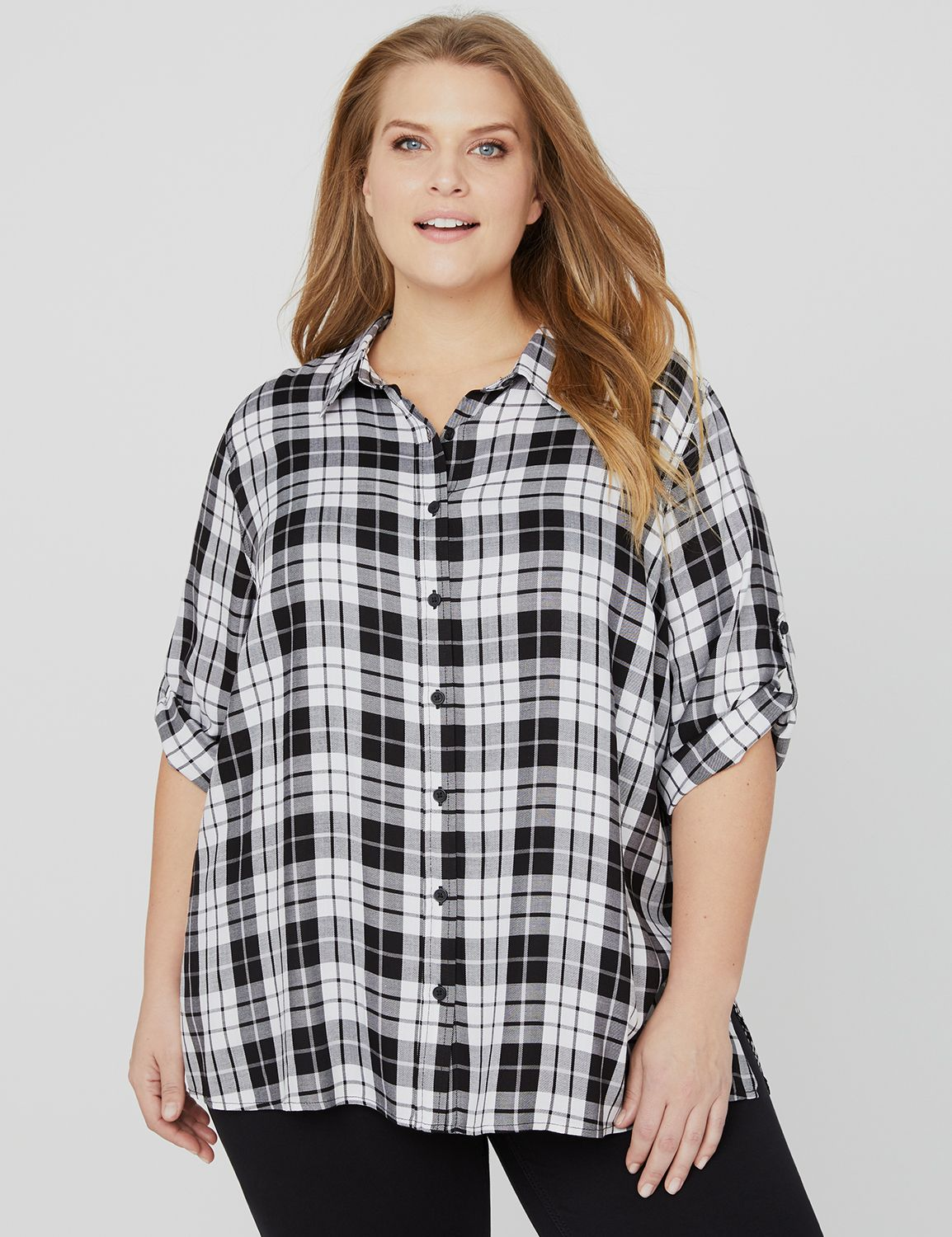 Hybrid Buttonfront Shirt 1093256 3/4 SLV PLAID BACK SHIRT MP-300101851
