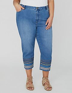 Ribbon Embellished Denim Capri