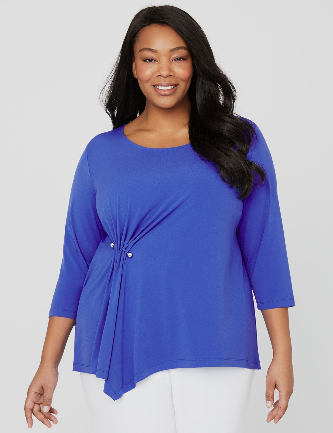 Black Label Blue Diamond Top 1090803 Asymmetrical Knit Top with MP-300102572