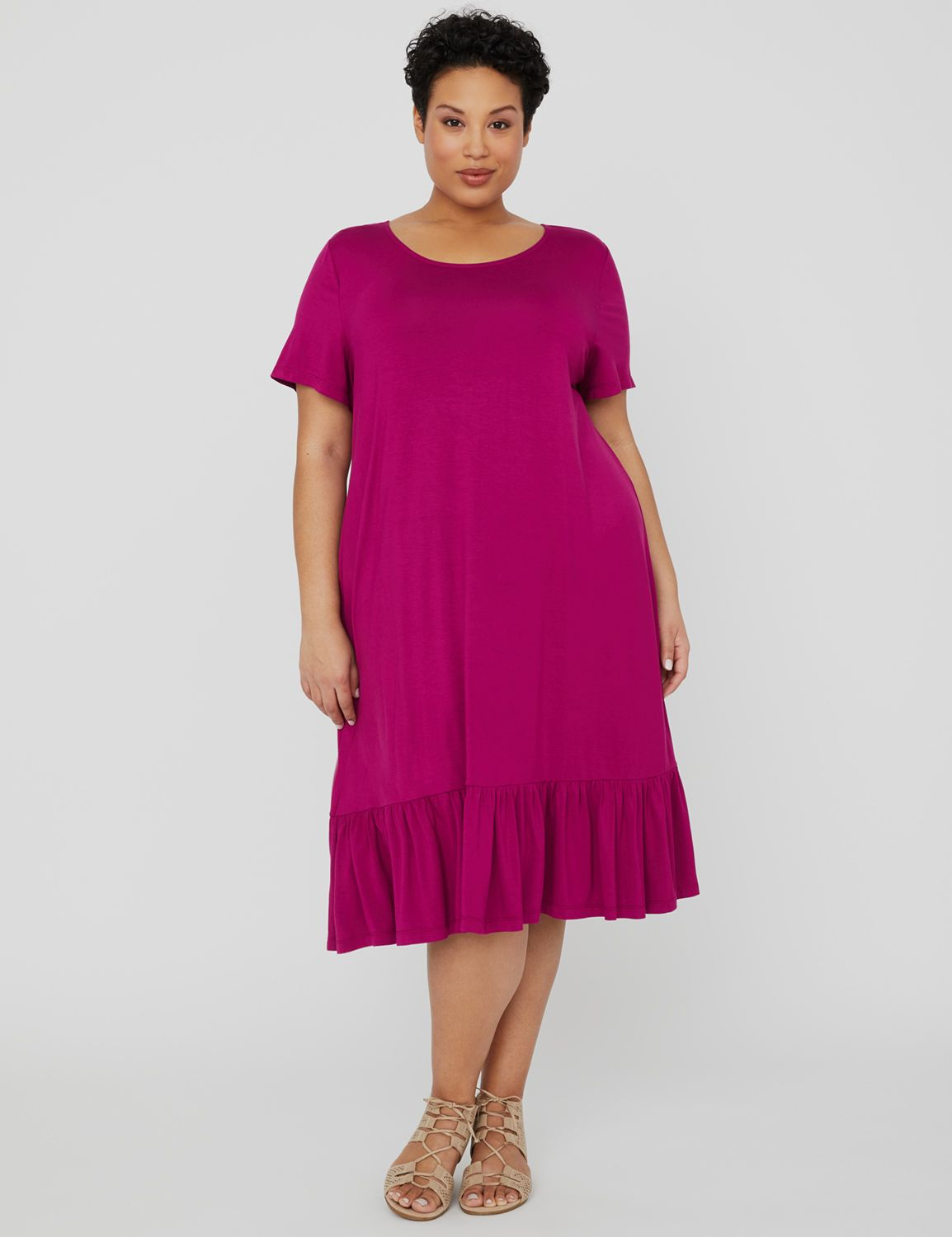Exhale T-Shirt A-Line Dress 1090955 T-shirt Dress with Flounce MP-300102459
