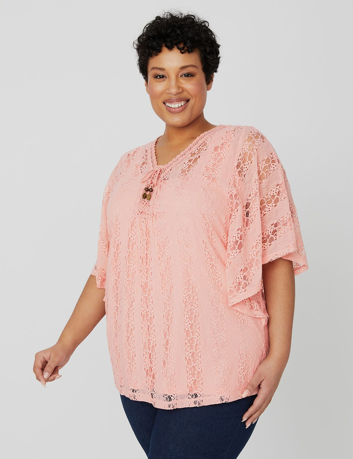 Elevated Lace Top 1089839 ALLOVER LACE PONCHO MP-300102659