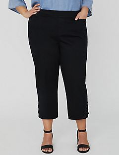 Essential Flat Front Black Capri with Crisscross Detail