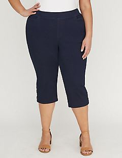 Essential Flat Front Denim Capri with Crisscross Detail