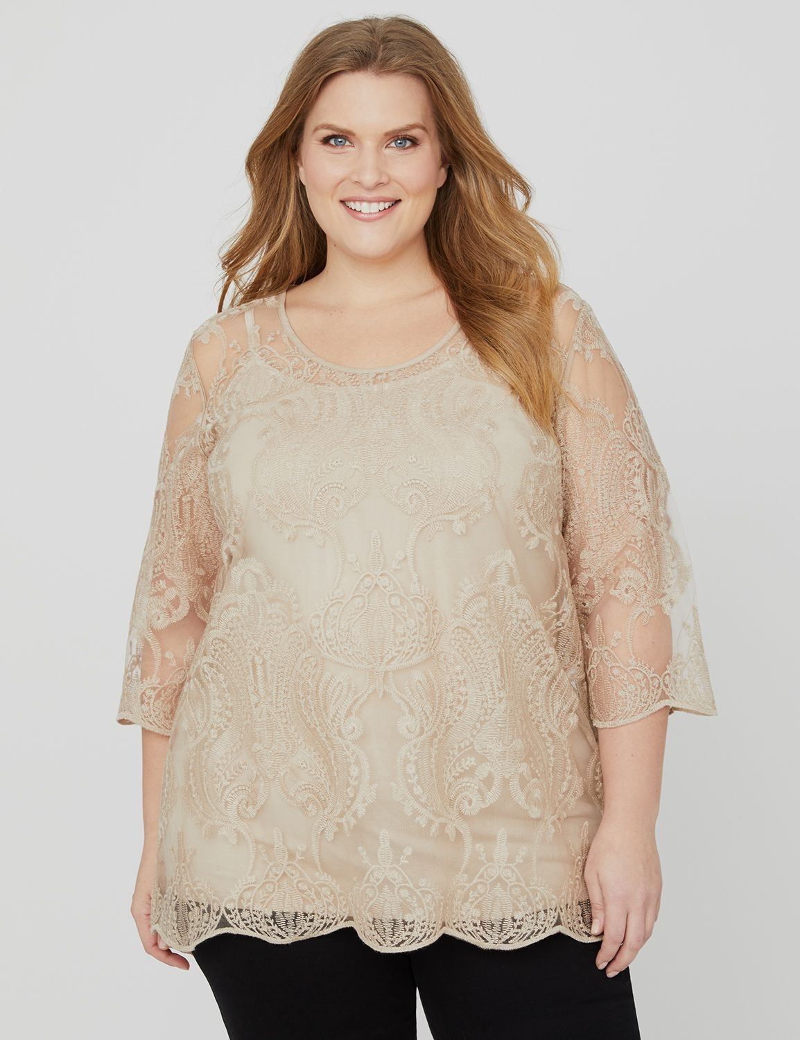Soft Afterglow Top 1091394 Nuance Mesh Embroidered Tun MP-300103669