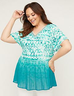 Ombre Beaded Pleated Top