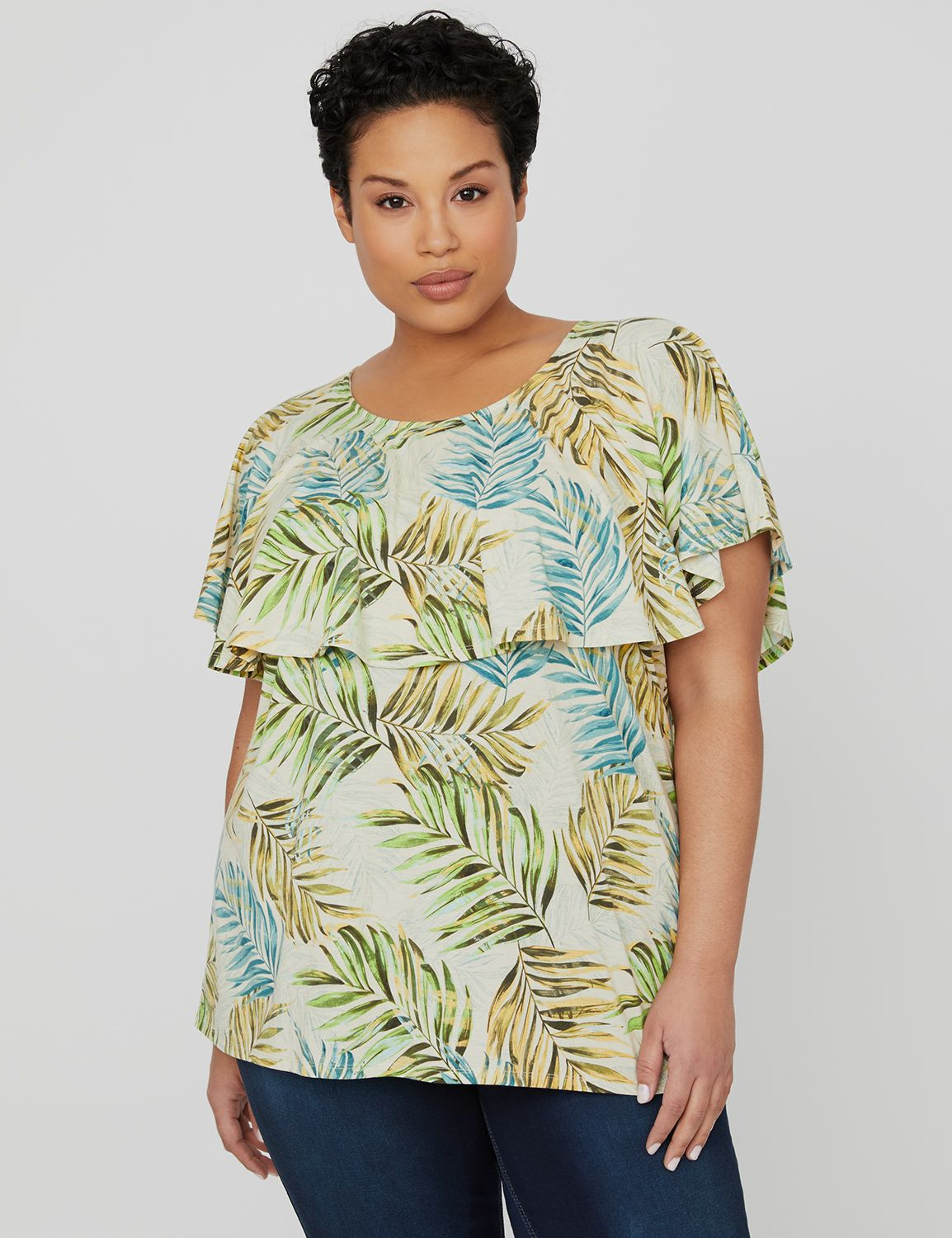 Tropical Flounce Top 1090663 FLOUNCE TROPICAL PRINT MP-300105136